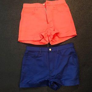 2 American Apparel Blue Orange Shorts Size 30 31